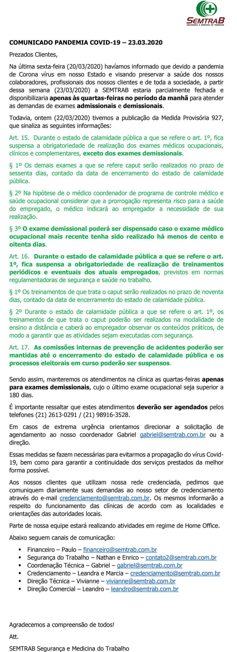 Comunicado Pandemia COVID 19 - 23/03/2020